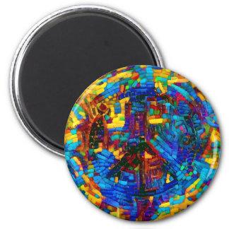 Imán Símbolo de paz colorido del mosaico