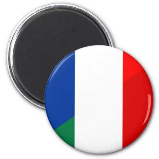 Imán símbolo del país de la bandera de Italia Francia