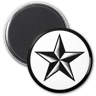 Imán simple de la estrella blanca negra del tatuaj