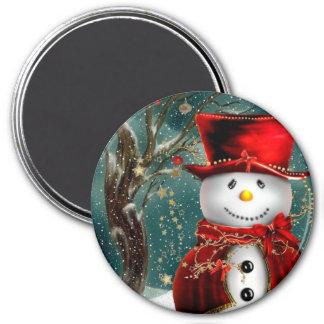 Imán Snowmans lindos - ilustracion del muñeco de nieve