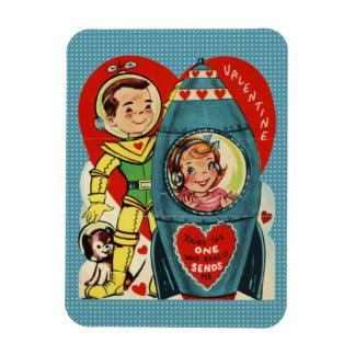 Imán Tarjeta del día de San Valentín Rocket del vintage