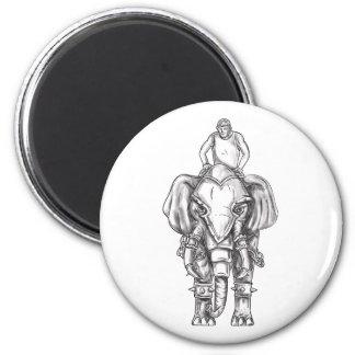 Imán Tatuaje del jinete del Mahout del elefante de la