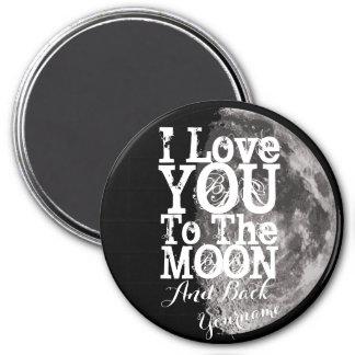 Imán Te amo a la luna y a la parte posterior con su