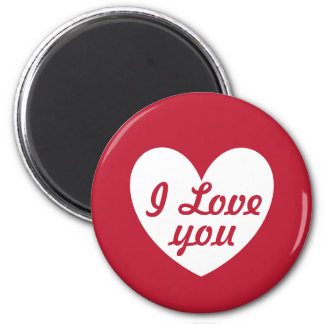 "Imán ""Te amo"" corazón blanco en rojo"