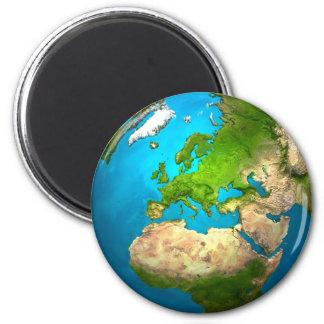 Imán Tierra del planeta - Europa - globo colorido. 3d