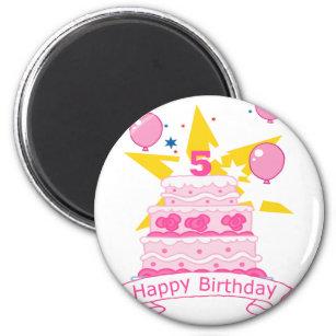 Imán Torta de cumpleaños de 5 años