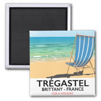Imán Trégastel, poster de las vacaciones de la playa de