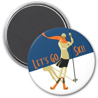 Imán ¡Vayamos esquí! Esquiadores del diseño del vintage