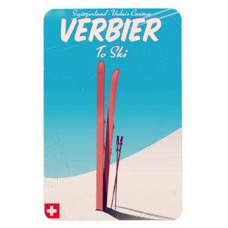 Iman Verbier, cartel del viaje del esquí del vintage de