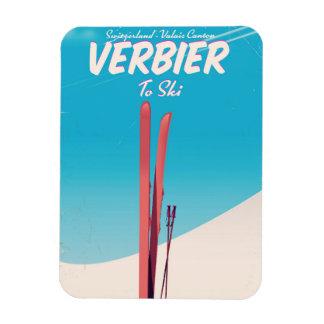 Imán Verbier, cartel del viaje del esquí del vintage de