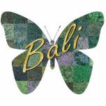 Imán verde de la mariposa del remiendo del batik esculturas fotográficas