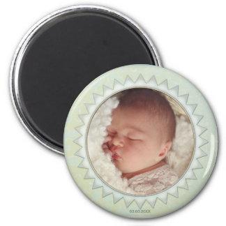 Imán verde en colores pastel de la foto del bebé