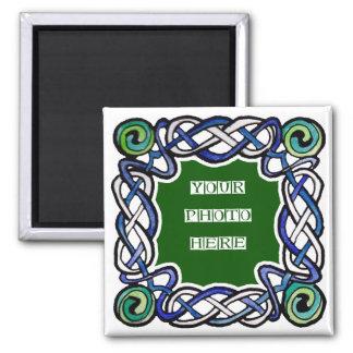 Imán verde y azul del marco de Celtc Knotwork