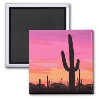 Imán Viaje de la puesta del sol del desierto del cactus
