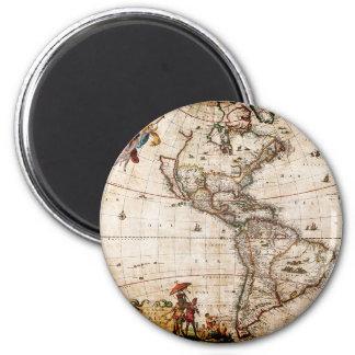 Imán Viejo norte antiguo y mapa de Suramérica