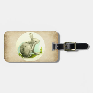 Imitación de cuero del moreno del conejo de etiqueta para maletas