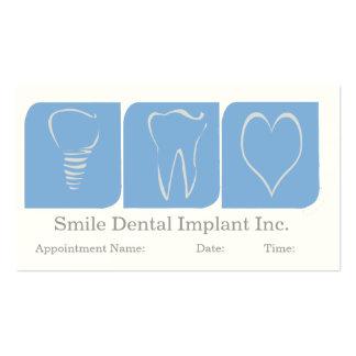 Implante dental del dentista tarjetas de visita