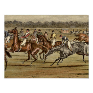 Impresión 1886 de la carrera de caballos de la
