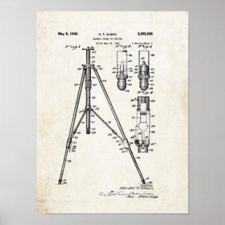 Impresión 1942 de la patente del trípode de cámara