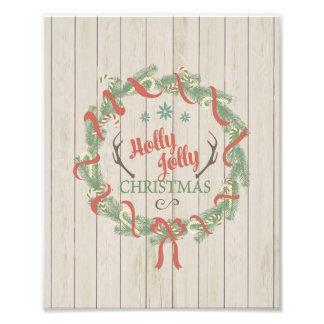 """impresión 8x10 - """"navidad alegre del acebo """" impresión fotográfica"""