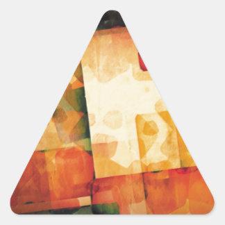 Impresión abstracta de la acuarela pegatina triangular