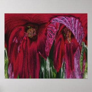 Impresión abstracta floral de la fantasía de la fl poster