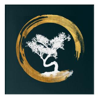 Impresión Acrílica Árbol de los bonsais. Zen Enso Circl. Caligrafía