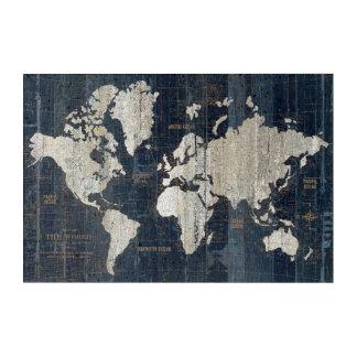 Impresión Acrílica Azul del mapa de Viejo Mundo