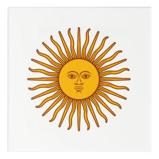 Impresión Acrílica Blanco amarillo del símbolo del planeta de la