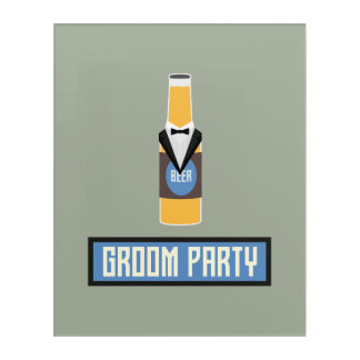 Impresión Acrílica Botella de cerveza del fiesta del novio Z77yx
