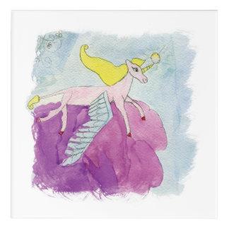 Impresión Acrílica Caballo con alas potro de Alicorn de la acuarela