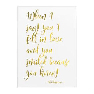 Impresión Acrílica Cita romántica del amor de Shakespeare en regalo