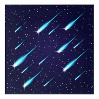 Impresión Acrílica Cometas en el cielo azul del espacio estrellado