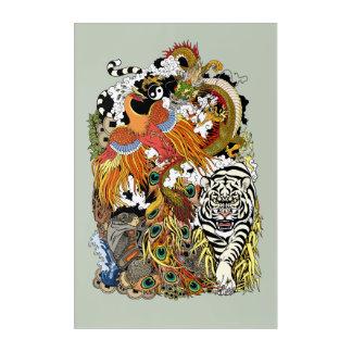 Impresión Acrílica cuatro animales celestiales