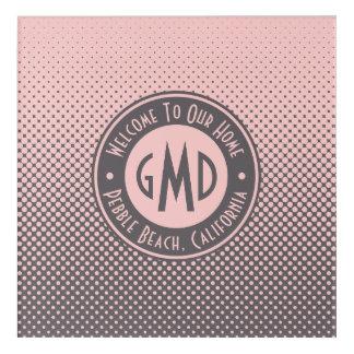 Impresión Acrílica De moda gris rosado milenario del monograma de los