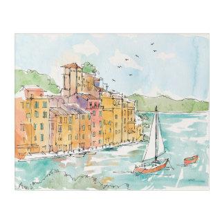 Impresión Acrílica Ejemplo del puerto de Porofino con el velero