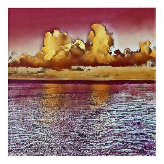 Impresión Acrílica El océano artístico hermoso infrecuente se nubla