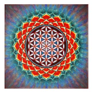 Impresión Acrílica Flor de la vida - loto Roja