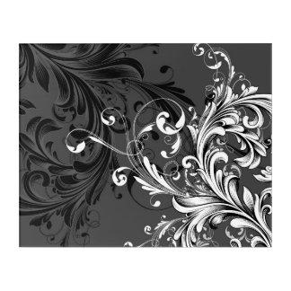 Impresión Acrílica Flourish floral blanco y negro