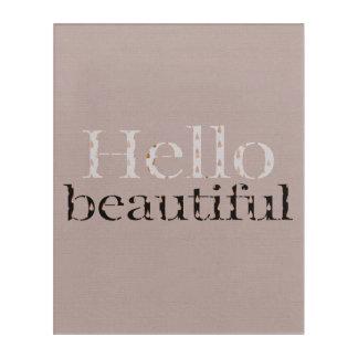 Impresión Acrílica Hola diseño tipográfico hermoso, oro rosado oscuro
