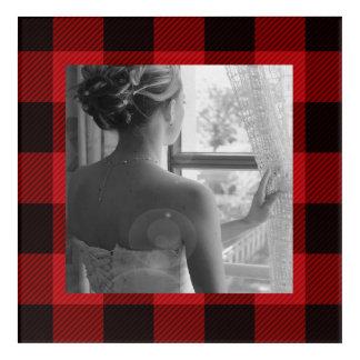 Impresión Acrílica leñador rojo del búfalo de la tela escocesa del