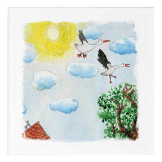 Impresión Acrílica Los dibujos del Tinca. Acuarela infantil con los