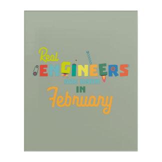 Impresión Acrílica Los ingenieros son en febrero Zltl5 nacidos