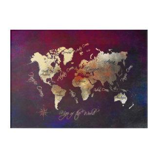 Impresión Acrílica mapa del mundo