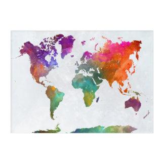 Impresión Acrílica Mapa del mundo en acuarela