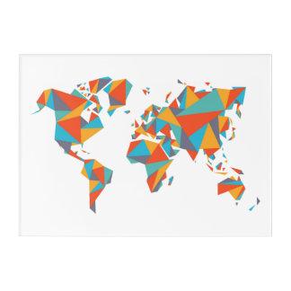 Impresión Acrílica Mapa del mundo geométrico abstracto