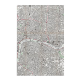 Impresión Acrílica Mapa del vintage de la ciudad de Londres
