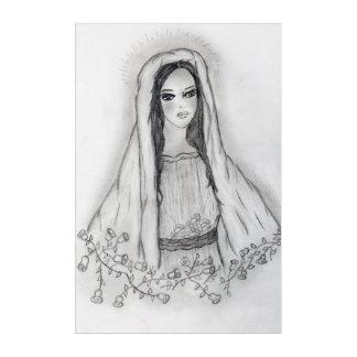 Impresión Acrílica Maria con los rosas