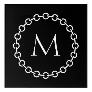 Impresión Acrílica Monograma blanco del círculo del anillo de la