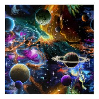 Impresión Acrílica Nebulosa y planetas del espacio